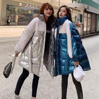 冬季韩版宽松外套孕后期孕妇冬装棉衣羊羔毛拼亮色棉袄