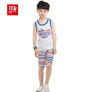 季季乐童装男童夏装条纹时尚休闲纯棉短袖套装BXZ53121