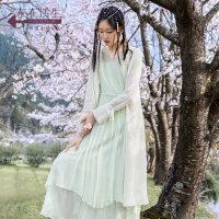 生活在左2019秋季女装新品米白色蕾丝提花针织衫仙女长款开衫上衣