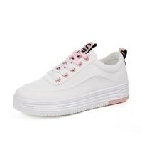 白领公社 帆布鞋 女士新款秋季学院风增高厚底小白鞋韩版女式滑板鞋休闲透气学生运动跑步鞋子