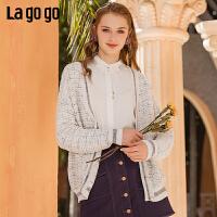 Lagogo拉谷谷2020年春季新款慵懒小香风外搭针织开衫女毛衣外套
