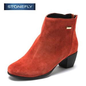【3折到手价140.7元】STONEFLY/斯通富来冬季牛皮磨砂休闲舒适粗跟时尚拉链短靴女靴SD44117090