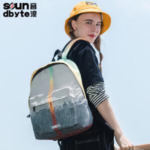 soundbyte双肩包男女新款简约大容量学生书包印花电脑包防泼水