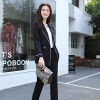 韩版休闲西装套装女英伦风2018新款时尚气质大学生职业正装两件套 黑色