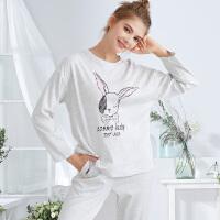 都市丽人舒适可爱卡通兔印花家居服可外穿女士睡衣秋衣秋裤套装2H0233
