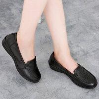 中老年妈妈鞋软底单鞋中年女鞋老人奶奶妇女舒适平底皮鞋春秋