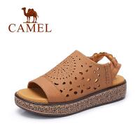 骆驼女鞋 夏季新款平跟凉鞋 镂空时尚松紧带中跟凉鞋女