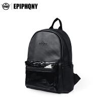 【支持礼品卡支付】Epiphqny重生女学生士日韩学院风休闲纯黑色PU小号双肩书包51219