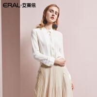 ERAL/艾莱依2018新款夏装真丝衬衫女长袖修身立领韩版桑蚕丝衬衣667C013005
