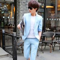 中袖男士小西装男七分袖外套青少年韩版夏装男小西服英伦半袖KY907