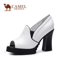 Camel骆驼女鞋 简约 珠光牛皮松紧带鱼嘴 高跟防水台单鞋