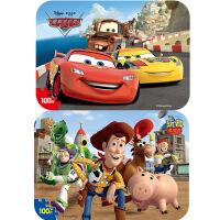 【当当自营】迪士尼拼图玩具 100片铁盒木质拼图二合一(赛车2427+玩具总动员2428)