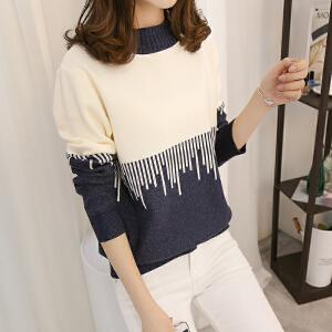 秋装新款女装韩版时尚上衣洋气宽松ulzzang长袖女针织衫毛衣外套
