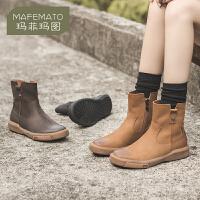 玛菲玛图马丁靴女靴子2020秋单靴英伦真皮学生平底复古切尔西女短靴子女冬2213-16