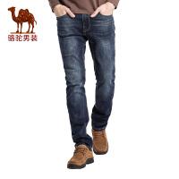 骆驼男装 时尚直筒牛仔裤时尚水洗商务休闲长裤子男