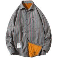 韩版男士衬衫加绒加厚潮流长袖休闲格子衬衣外套潮男衣服