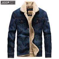 吉普JEEP秋冬新款加绒加厚保暖牛仔夹克男外套WGQ0106单排扣茄克
