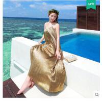 沙滩裙长裙吊带宽松裙拖地漏背性感夏大摆长裙巴厘岛海边度假连衣可礼品卡支付