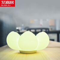 艾嘉居 多肉花创意收纳小夜灯 储物充电拍打灯LED硅胶节能灯 卧室床头氛围灯装饰台灯