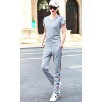 V领纯色修身短袖纯棉跑步长裤 两件套 支持礼品卡