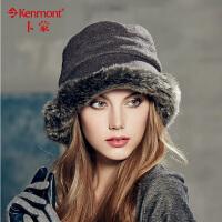kenmont女士盆帽 冬帽 女 加厚保暖帽子 优雅小礼帽2342