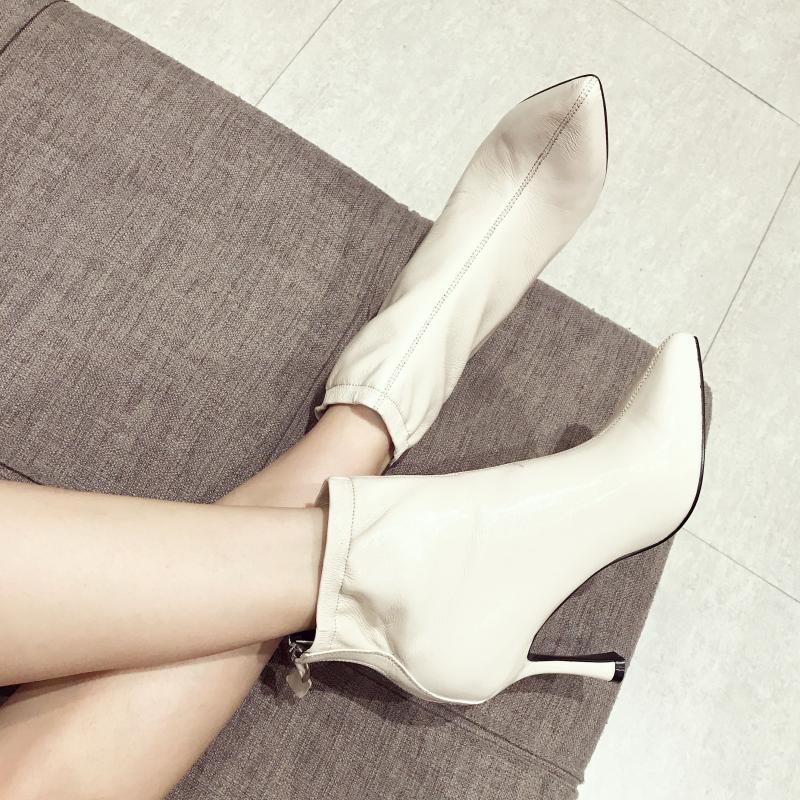 尖头高跟短靴女 细跟马丁靴女2019 百搭女士靴子
