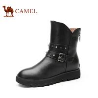 Camel 骆驼女鞋 秋冬新款靴子 日常休闲 舒适牛皮后拉链女靴