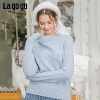 Lagogo/拉谷谷2019新款半高领不规则开衩下摆针织衫女ICMM46XA41