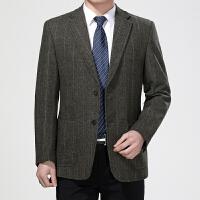【 品质面料 穿着舒适】中年男士西装羊毛呢外套爸爸装羊毛西装商务休闲单西服男上衣春秋