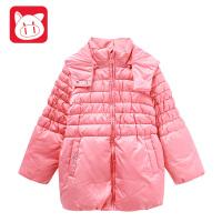 小猪班纳童装女童中长款连帽棉服2017冬装儿童加厚保暖棉衣外套女