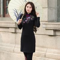 民族风女装秋冬加厚保暖中长款显瘦连衣裙中国风立领刺绣复古旗袍 黑色 紫萝兰加绒连衣裙