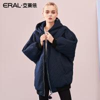 ERAL/艾莱依2018冬季新款蝙蝠袖休闲刺绣羽绒服女617103058