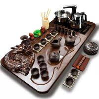 功夫茶具套装全套自动电热磁炉套装全黑紫砂原矿盘龙四合一套装