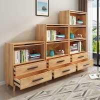 实木书柜带门玻璃门储物收纳柜落地儿童书房书架防尘书橱自由组合