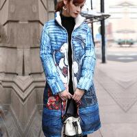 新款羽绒服冬季修身时尚个性口袋羽绒服女中长款2018新款韩版潮 印花