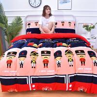 冬季法莱绒珊瑚绒四件套床上三件套法兰绒床单被套保暖加厚毛毯子