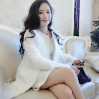 新女士外套2016春季新款女装外套中长款重工串珠羽毛夹棉外套大衣