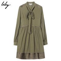 Lily秋女装气质系带V领收腰修身长袖连衣裙118340C7614