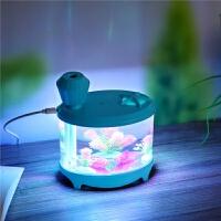 新款USB迷你鱼缸加湿器七彩夜灯景观创意家用香薰空气净化器