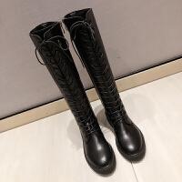 马丁靴女2019秋冬高筒骑士靴过膝长靴女粗跟长筒网红瘦瘦靴子
