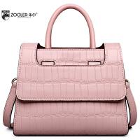 朱尔zooler牛皮女包新款是时尚鳄鱼纹通勤手提包气质多功能包包