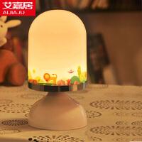 艾嘉居创意小白USB充电小台灯 LED卧室床头灯 婴儿宝宝喂奶灯 振动感应调光小夜灯