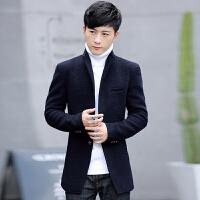 冬季韩版修身中长款加绒加厚妮子毛呢外套男羊毛呢子大衣男士风衣男