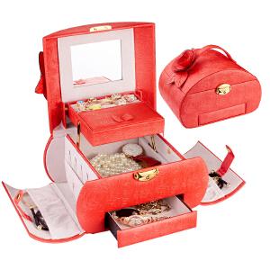 优品汇 收纳盒 首饰盒公主款日式耳钉耳环手饰品收纳结婚礼物带锁多层耳环盒子简约首饰收纳盒大容量