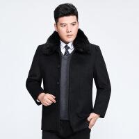 秋冬中年男士羊绒毛呢大衣立领中长款商务休闲加厚羊毛爸爸装外套