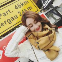 新品韩版时尚加厚条纹针织毛线围巾秋冬季保暖日系学生百搭围脖女冬天