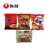 韩国进口食品 农心辛拉面经典四连包 香菇 小浣熊 鱿鱼 炸酱面
