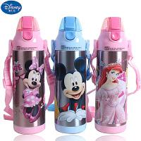 迪士尼米奇儿童真空直饮保温杯真空不锈钢儿童拎带水杯男女童喝水杯子HM2210