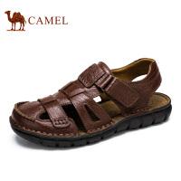 camel骆驼男鞋凉鞋夏季 头层牛皮沙滩鞋包头休闲凉鞋 新款