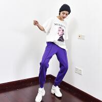 加绒运动裤女冬季新款韩版宽松休闲哈伦长裤保暖百搭加厚卫裤